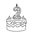 delicious cake with candle number two vector image vector image