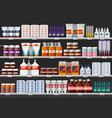 drugstore showcase or pharmacy shelf with drugs vector image