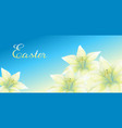 easter greeting card with lilies vector image