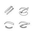 eyelash extension linear icons set vector image vector image