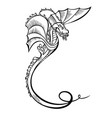fantasy animal dragon black decorative vector image vector image