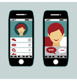 flat design smart phone application with young vector image