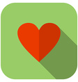 Flat heart icon Green background with rounded vector image