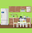 flat of kitchen interior vector image vector image