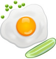 fried egg green Peas cucumber vector image vector image
