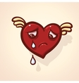 Fulish cartoon heart with wing vector image vector image