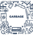 garbage promotional poster with frame of useless vector image