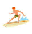 guy riding on ocean wave male surfer character in vector image vector image
