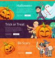 halloween banner set template with cartoon vector image vector image