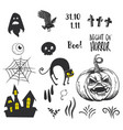 halloween party decor elements vector image