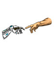 hand touch android and human artificial vector image vector image
