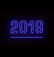 happy 2019 new year neon light retro trans vector image vector image