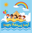 happy childrens day poster with kids sailing vector image vector image