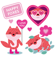 Happy Foxes set vector image