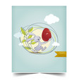 happy holiday easter day card vintage egg vector image vector image