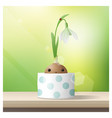 hello spring with spring flower snowdrop vector image vector image
