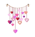 Holiday garland with colorful paper hearts vector image vector image