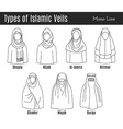Islamic Veil Icon Set vector image