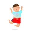 jumping joyful preschooler brunet boy playful and vector image vector image