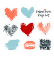 love heart set grunge hand vector image vector image