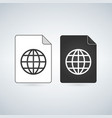 map document file icon with globe linear icon vector image vector image