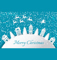 merry christmas paper cut flying reindeers vector image vector image