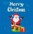 merry christmas warm wishes card santa and gifts vector image vector image