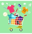 Online shopping cart with goods concept vector image vector image