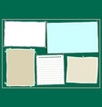 paper notes sheets on the bulletin board vector image