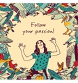 Passion freedom girl birds sign card vector image vector image