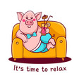 pink color character pig in pants lying on the vector image