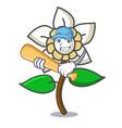 playing baseball jasmine flower character cartoon vector image