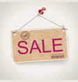 sale carton signboard with rope vector image