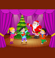 santa claus on the stage with kids singing vector image