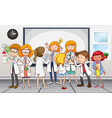 Scientists and teachers in the classroom vector image vector image