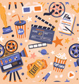 seamless movie pattern with cinema items endless vector image