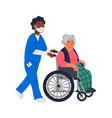 senior patient an elderly woman in a wheelchair vector image vector image