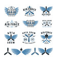 set air force and air show emblem and icons vector image vector image