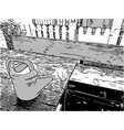 sketch of watering can vector image