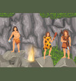 stone age primitive tribes in stone caves near vector image vector image