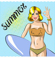 surfer girl beautiful woman standing on the beach vector image vector image