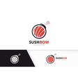sushi and bomb logo combination japanese vector image vector image