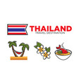 thailand food and rest activities vector image