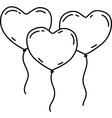 three heart balloon icon doddle hand drawn vector image