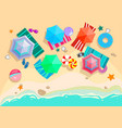 top view beach set with sea sand umbrellas swim vector image