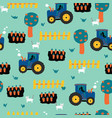 tractors seamless kids pattern tractor carrots vector image