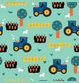 tractors seamless kids pattern tractor carrots vector image vector image