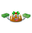 with money christmas pudding on dinning table vector image