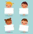 children holding blank sign vector image