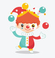 cute clown with balls vector image